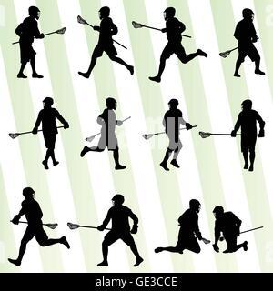 Crosse en action contexte vecteur défini pour poster Banque D'Images