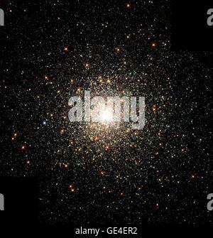 Cet essaim stellaire est M80 (NGC 6093), un des plus denses de la 147 d'étoiles globulaires connus dans la Voie lactée. Situé à environ 28 000 années-lumière de la Terre, M80 contient des centaines de milliers d'étoiles, tous unis par leur attraction gravitationnelle mutuelle. Les amas globulaires sont particulièrement utiles pour étudier l'évolution stellaire, puisque toutes les stars dans la grappe ont le même âge (environ 15 milliards d'années), mais couvrent une gamme de masses stellaires. Toutes les étoiles visibles dans cette image est soit plus que très évolué, ou dans quelques rares cas, plus massive que notre Soleil. Surtout