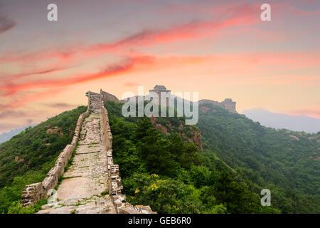 Grande Muraille de Chine, à la section de Jinshanling. Banque D'Images