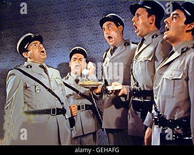 Michel Galabru, Louis de Funés,?,?,? *** *** 1966 légende locale, le Gendarme A New York, Le, Der Gendarm Vom Banque D'Images