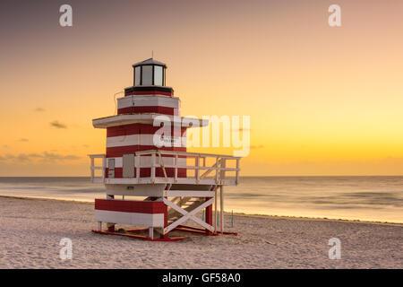 Miami Beach, Floride, USA, à l'aube. Banque D'Images