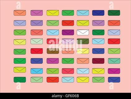 L'illustration qui montre le peu d'enveloppes de couleur pour fond clair Banque D'Images