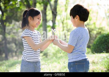 Petit garçon chinois donnant Chinese girl fleurs sauvages dans les bois Banque D'Images