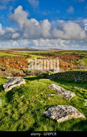 Devil's Leap; Rough Tor et Brown Willy, Bodmin Moor, Cornwall, UK Banque D'Images