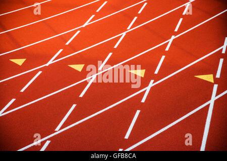 Close up de surface de piste synthétique au 2e Festival annuel de New York Distance track & field rencontrez Banque D'Images