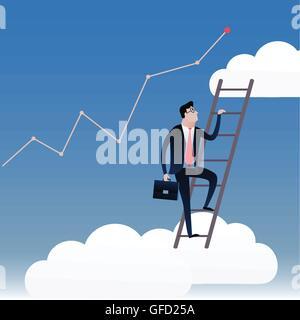 Businessman walking dans les escaliers avec le fond de ciel bleu et nuages blancs. Vector illustration du concept Banque D'Images