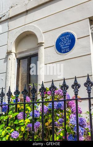 Vincent Van Gogh a vécu ici, peintre - 87 Hackford Road, Brixton Banque D'Images
