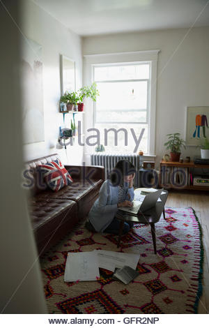 Female architect using laptop in living room Banque D'Images