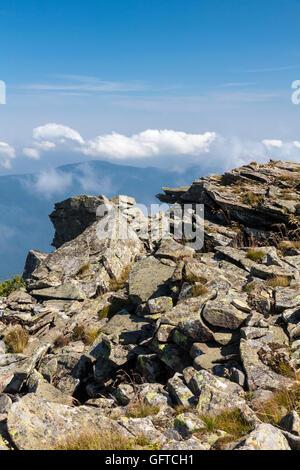 La vue depuis le sommet de la montagne Babia Gora, Parc National, la Pologne, l'Europe. Banque D'Images