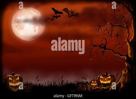 Fond d'halloween avec le mal encadrée des citrouilles, des chauves-souris et une poule arbre. Banque D'Images