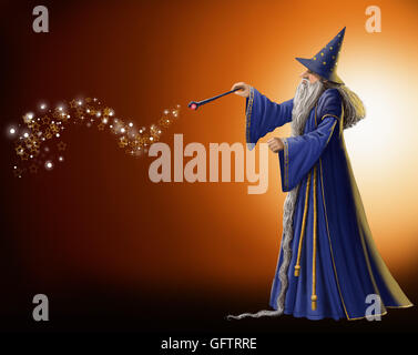 En agitant sa baguette magique de l'assistant. Banque D'Images