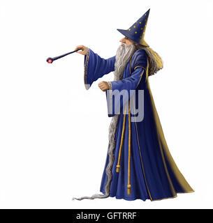 En agitant son assistant magique magique isolé sur un fond blanc. Banque D'Images