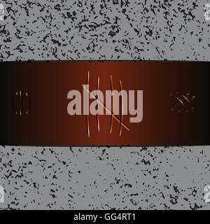 Rayures sur fond de cuir brun, stock vector Banque D'Images