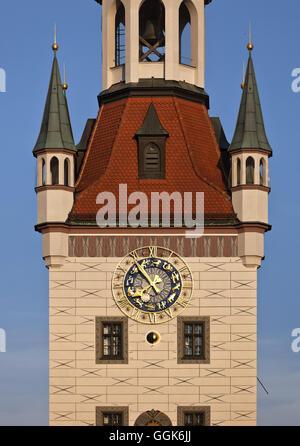 Détail de l'ancien hôtel de ville, l'Altes Rathaus, Marienplatz, Munich, Bavière, Allemagne Banque D'Images
