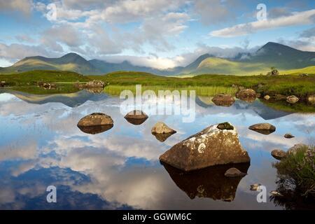 Une image en couleurs prises à l'été du paysage sur Rannoch Moor Banque D'Images