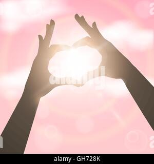 Les mains dans la forme de coeur rose au ciel. Concept vector illustration Banque D'Images