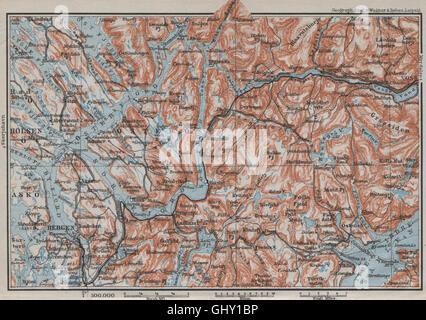 BERGEN-VOSSVANGEN.Sørfjorden. Topo-map. La Norvège de kart. 1909 BAEDEKER, Banque D'Images