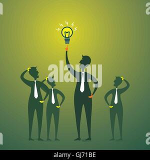 Les hommes avec nouvelle idée ou une ampoule d'autres auront une pensée concept vector Banque D'Images