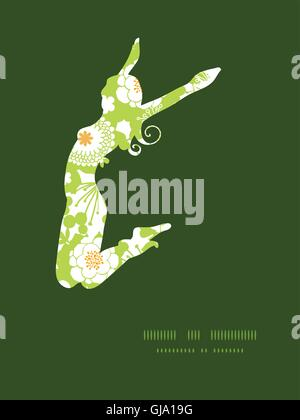 Vector silhouettes vert et golden garden girl jumping pattern silhouette frame Banque D'Images