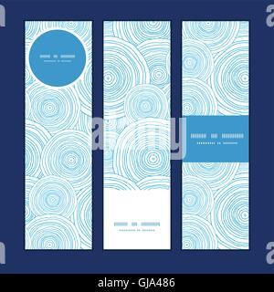 Doodle vecteur eau cercle vertical de texture de fond jeu de bannières Banque D'Images