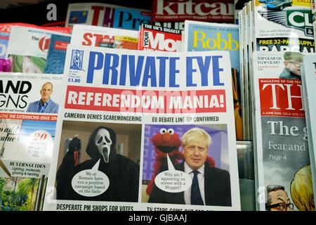 Boris Johnson et Muppet sur Private Eye magazine couverture 'référendum Mania' de la presse 9 Juin 2016 London England Banque D'Images