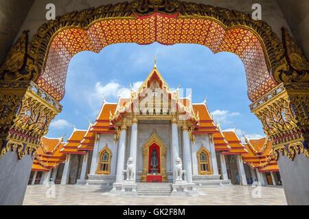 Le Temple de marbre ou Wat Benchamabophit, Bangkok, Thaïlande Banque D'Images