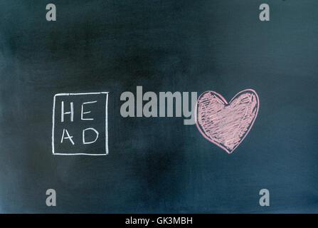 Symboles de la tête et le coeur dessiné sur un tableau. Banque D'Images