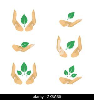 6 variantes de la protection de l'écologie du vecteur de symboles pour poster: feuille dans la main Banque D'Images