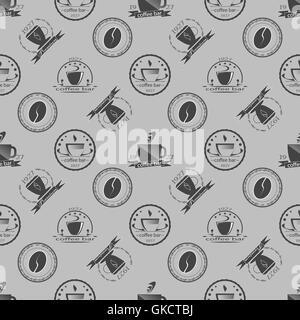 Ensemble d'étiquettes monochromes à thème café vintage. Modèle sans couture. Vector Banque D'Images
