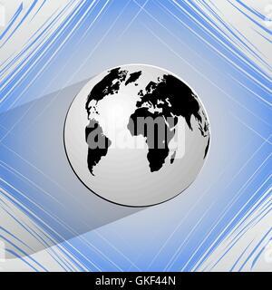 Carte du monde sur une icône web fond abstrait géométrique Banque D'Images