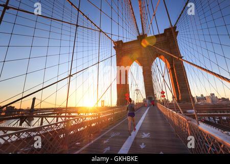 USA, New York, New York City, Brooklyn Bridge Banque D'Images