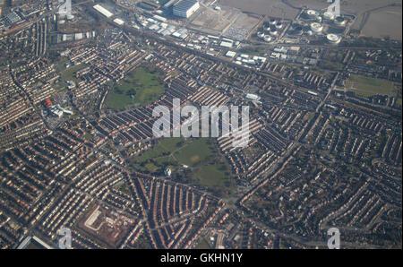 Vue aérienne de birkenhead et configuration des rues Banque D'Images