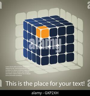 3D Puzzle Cube à trois côtés fort Banque D'Images