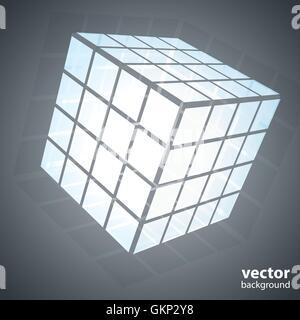 Une boîte de puzzle cube à trois côtés en 3D Banque D'Images