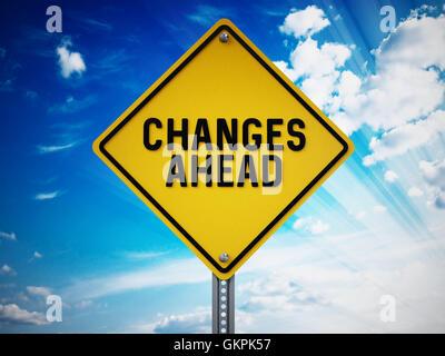 Changements à venir signer contre le ciel bleu. 3D illustration. Banque D'Images