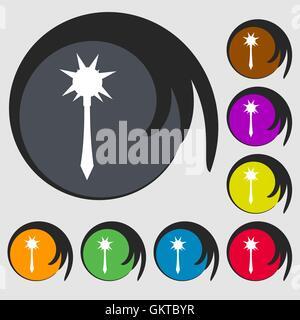 Icône Mace signe. Symbole sur huit boutons de couleur. Vector Banque D'Images