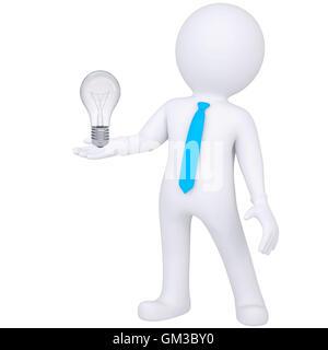 3d white man holding a Light bulb Banque D'Images