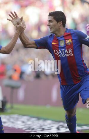 08/20/2016. Camp Nou, Barcelona, Espagne. Luis Suarez objectif lorsque l'espagnol liga match FC Barcelone - betis Banque D'Images