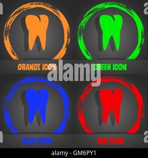 L'icône de la dent. Style moderne à la mode. Dans l'orange, vert, bleu, rouge design. Vector