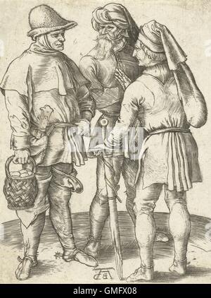 Trois agriculteurs de conversation, par Albrecht durer, d'impression, gravure allemande. 1567 copie de l'original Banque D'Images