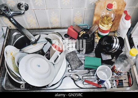 La vaisselle sale, cuisine, ménage Banque D'Images