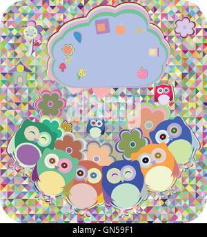 Les hiboux, oiseaux, fleurs, nuage et coeur d'amour, vector illustration Banque D'Images
