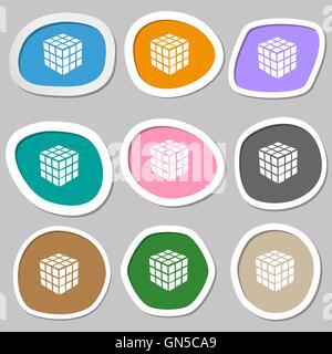Une boîte de puzzle cube à trois côtés en 3D des symboles. Papier autocollants multicolores. Vector Banque D'Images