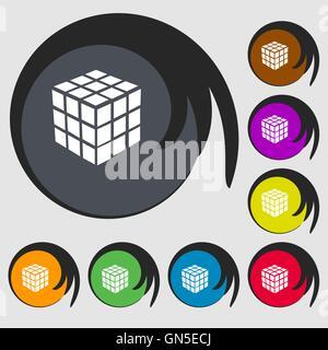 Une boîte de puzzle cube à trois côtés en 3D'icône. Symboles sur huit boutons de couleur. Vector Banque D'Images