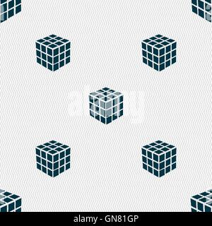 Une boîte de puzzle cube à trois côtés dans l'icône 3D signe. Motif géométrique transparente avec la texture. Vector Banque D'Images
