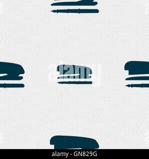 L'icône de l'agrafeuse et stylo signe. Motif géométrique transparente avec la texture. Vector Banque D'Images