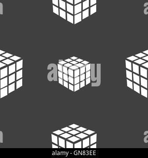 Une boîte de puzzle cube à trois côtés dans l'icône 3D signe. Motif transparente sur un fond gris. Vector Banque D'Images