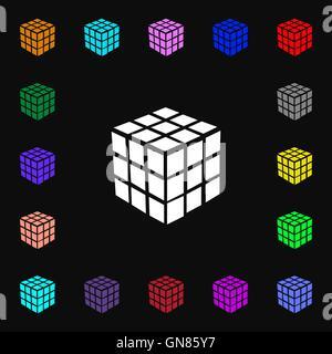 Une boîte de puzzle cube à trois côtés dans l'icône 3D signe. Beaucoup de symboles colorés pour votre conception. Banque D'Images
