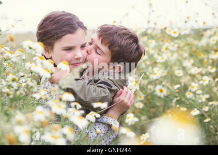 Boy kissing a girl's joue dans le champ de marguerites, Andalousie, Espagne Banque D'Images
