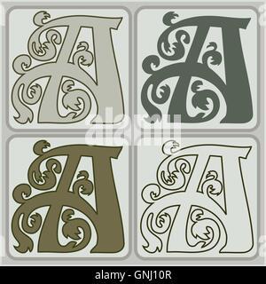 'A' en quatre variantes initiale. Lettre de style Art Nouveau design pour les initiales, logo, monogramme. Banque D'Images